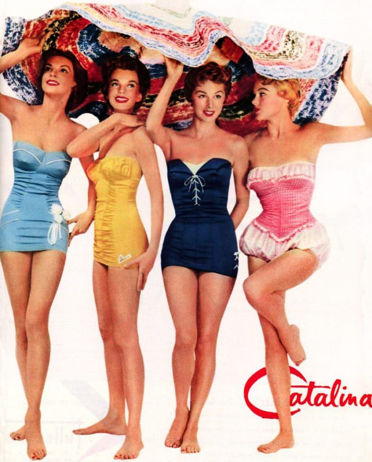 vintage 1950s Catalina Swimwear Ad Women wearing swimsuits
