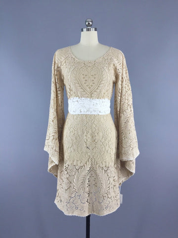 vintage 1970s crochet lace dress