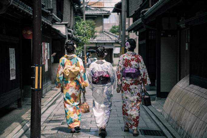 women wearing traditional kimonos in Japan