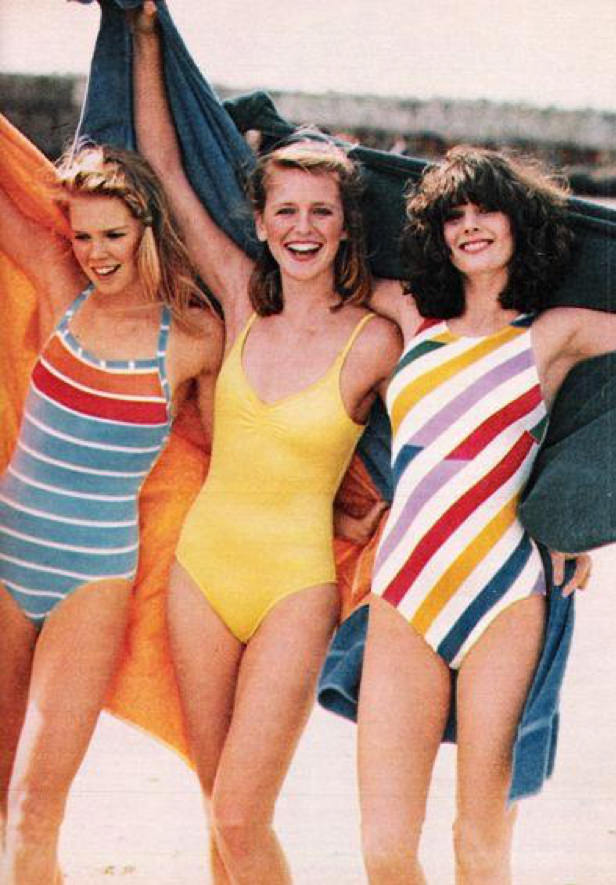 women wearing vintage 1970s swimsuits
