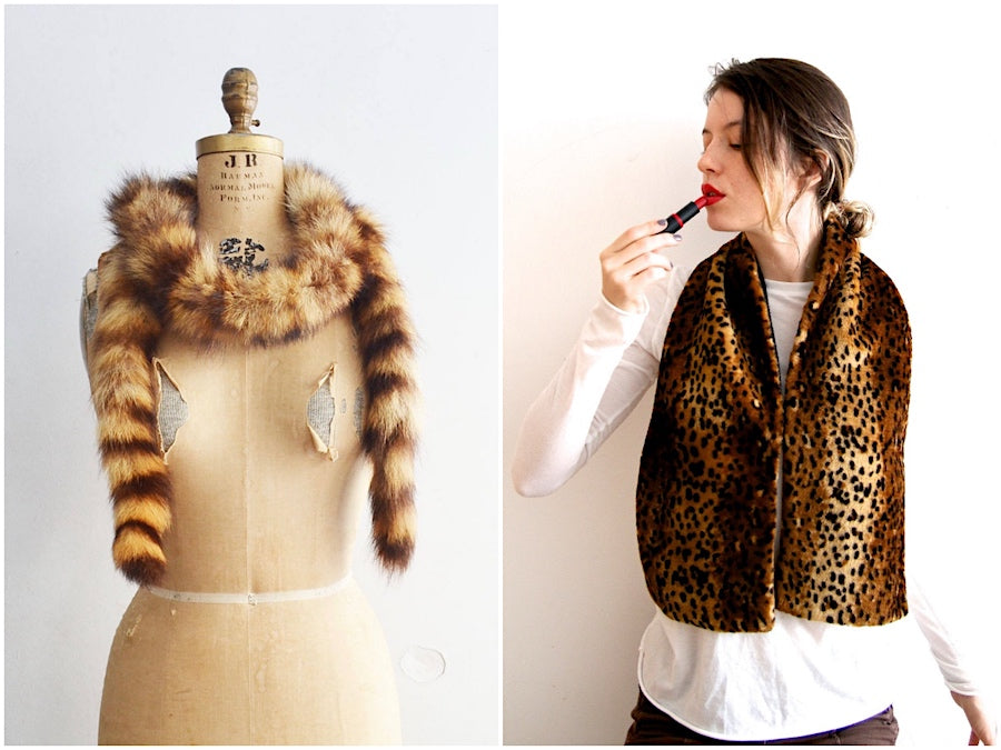 vintage fur and faux fur scarves