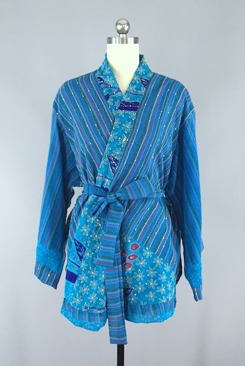 kimono cardigan made from vintage Indian silk sari exclusively at this bluebird.com