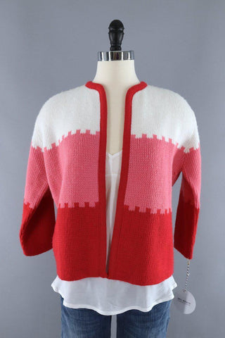 1960s cardigan in red pink and white candy cane stripes