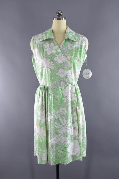 Vintage green floral cotton wrap dress