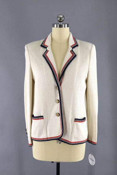 vintage 1970s Butte Knits ivory knit nautical blazer jacket