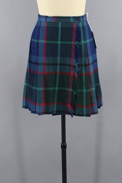 vintage 1980s tartan wool plaid kilt skirt
