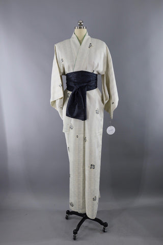 Vintage Silk Kimono Robe White and Grey Stripes ThisBlueBird