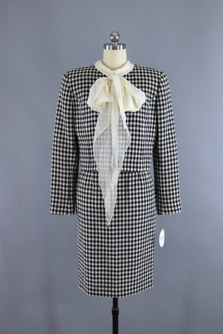 vintage 1990s black and white gingham wool suit by Valentino Miss V