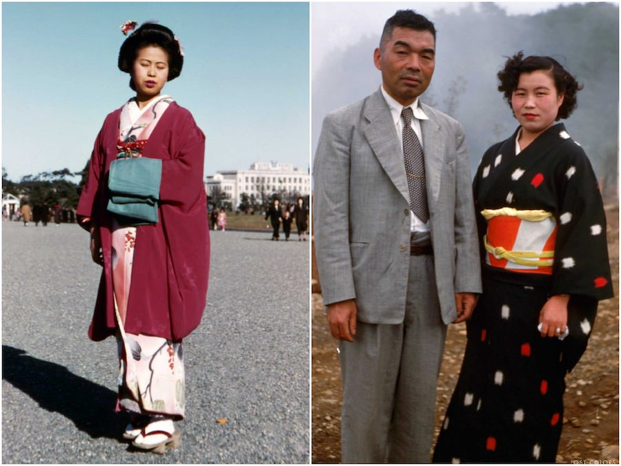 women wearing traditional kimonos in Japan in 1940s and 1950s