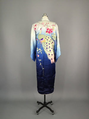1910 - 1920 Antique Silk Kimono with Peacock Embroidery - ThisBlueBird