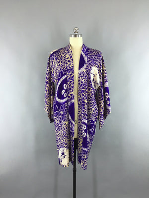 1910s-1920s Vintage Silk Haori Kimono Cardigan Jacket in Purple Shibori with Love Birds - ThisBlueBird