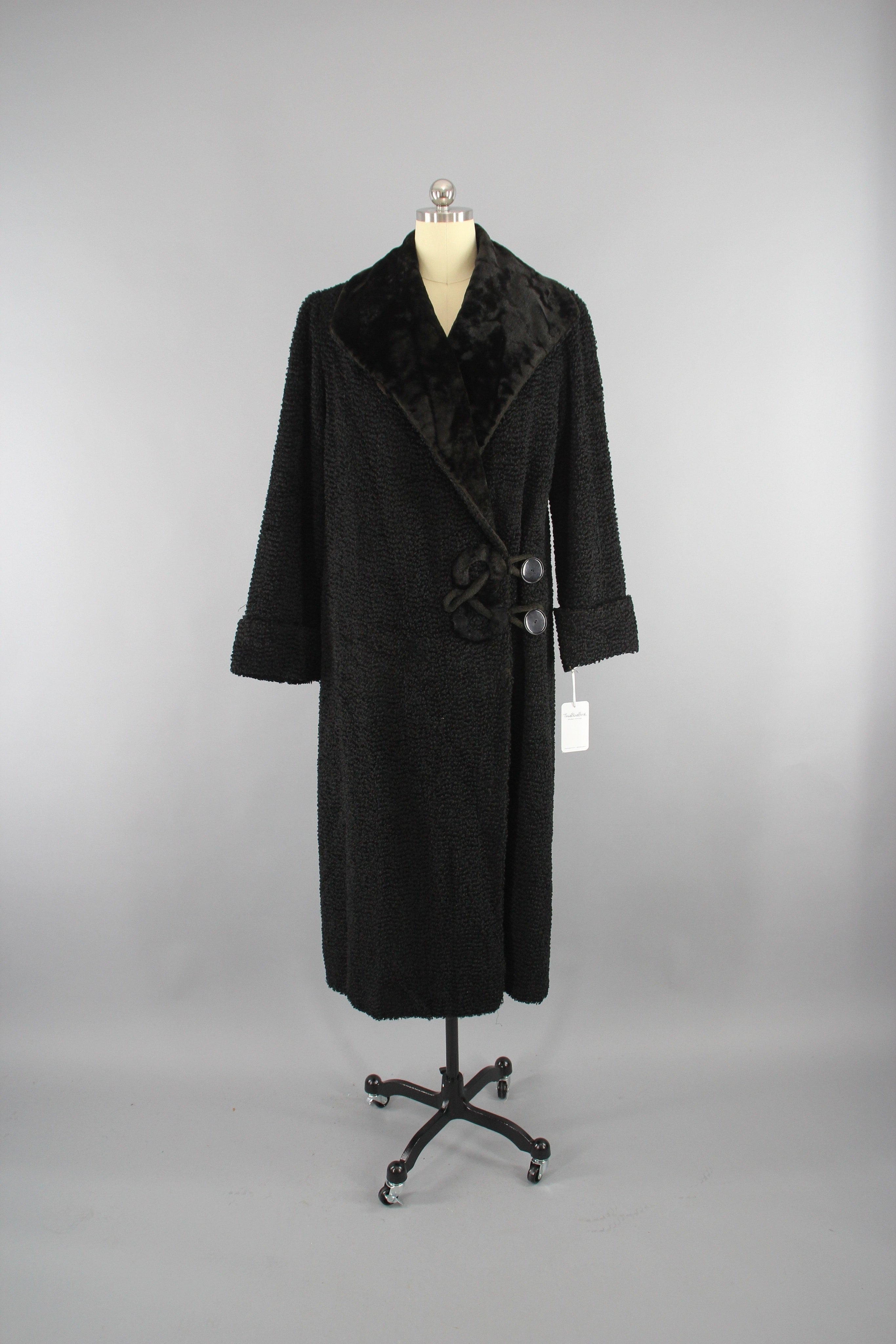 1910s Antique Vintage Edwardian Black Curly Persian Lamb Fur Coat Outerwear ThisBlueBird