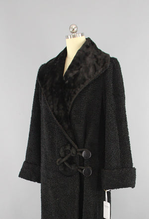 1910s Antique Vintage Edwardian Black Curly Persian Lamb Fur Coat - ThisBlueBird