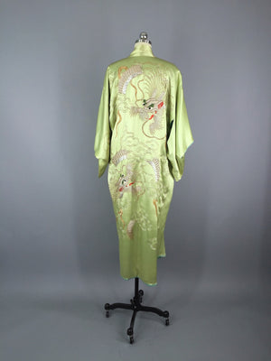 1915 - 1920 Antique Silk Kimono Robe / Embroidered Dragons - ThisBlueBird