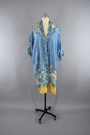 1920s - 1930s Vintage Silk Kimono Robe / Art Deco Flapper / Sky Blue and Yellow Floral Print - ThisBlueBird