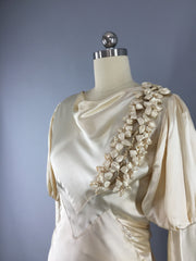 1930s Vintage Bias Cut Ivory Satin Bridal Gown Wedding Dress Dress ThisBlueBird