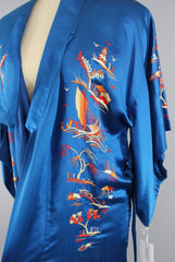 1940s Vintage Royal Blue Silk Kimono Robe with Asian Pagodas and Boats Embroidery Kimono ThisBlueBird