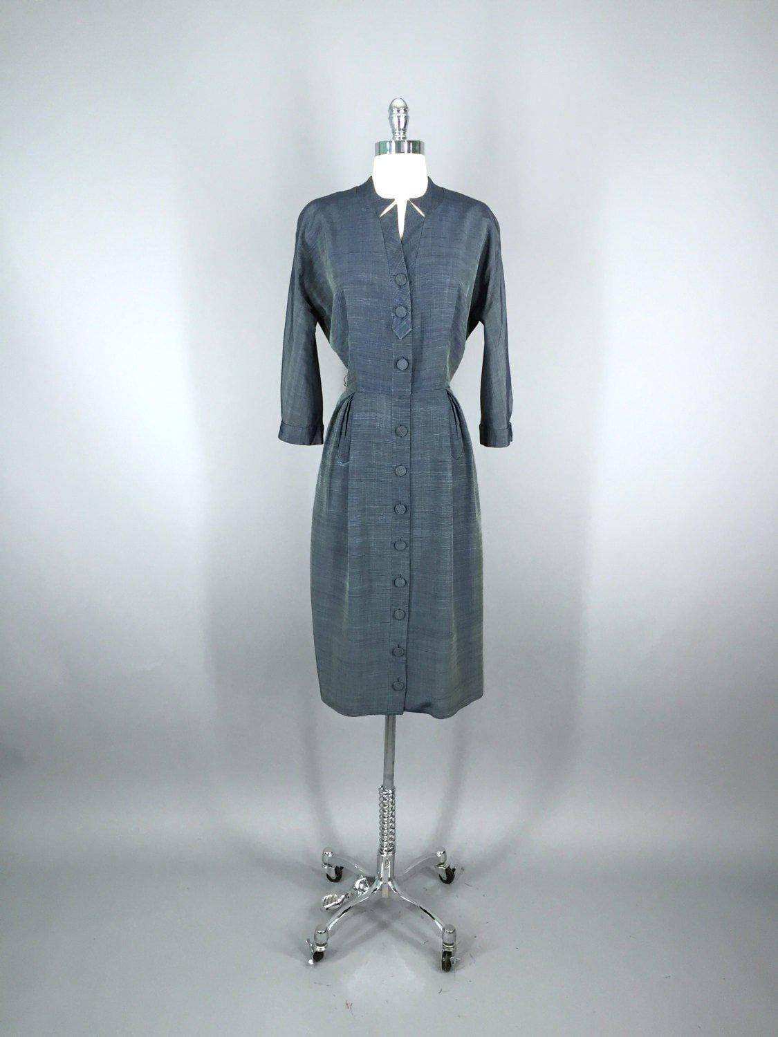 1950s Blue Grey New Look Vintage Day Dress Dress ThisBlueBird