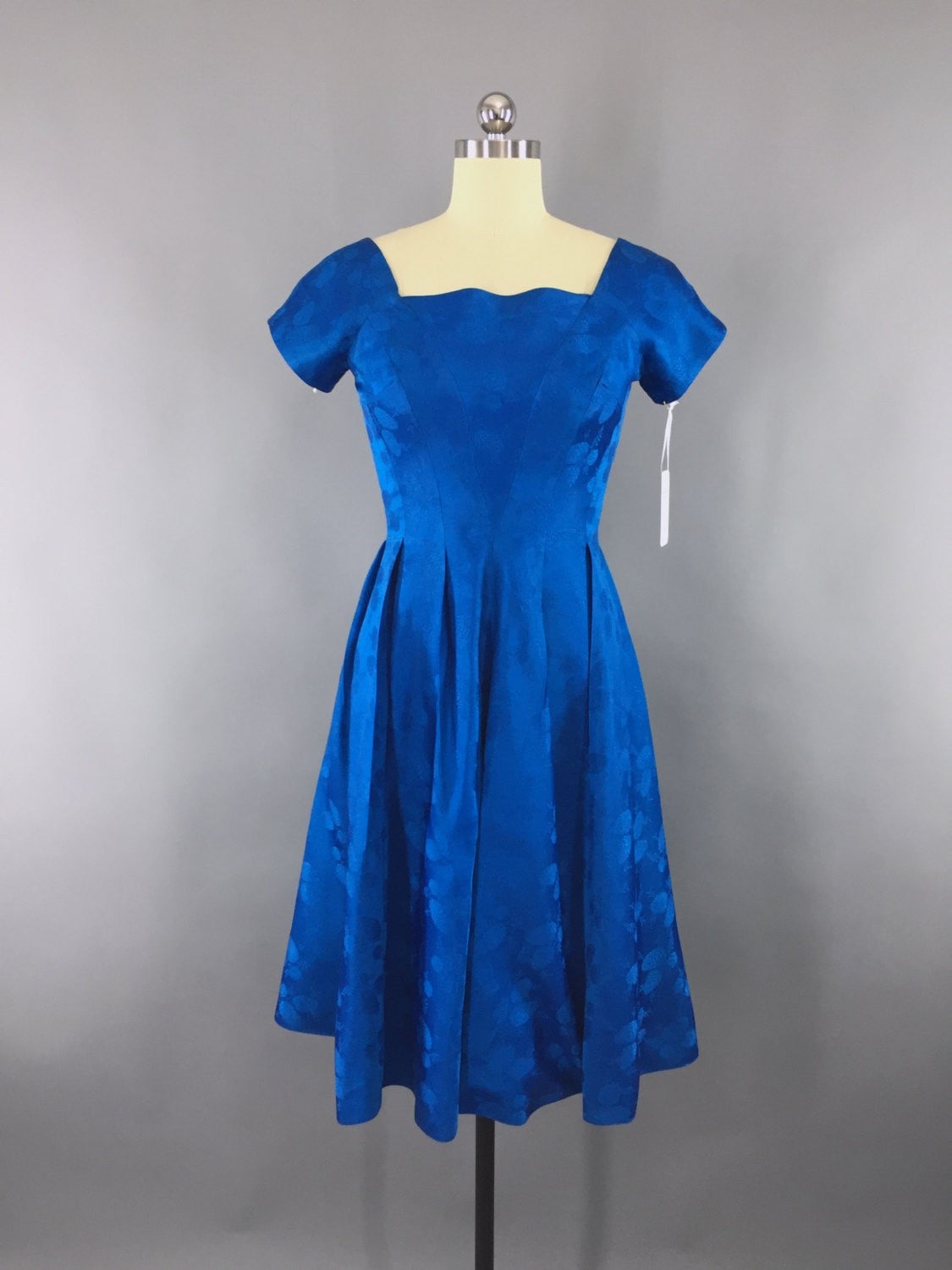 1950s Vintage Electric Blue Satin Damask Party Dress Dress ThisBlueBird