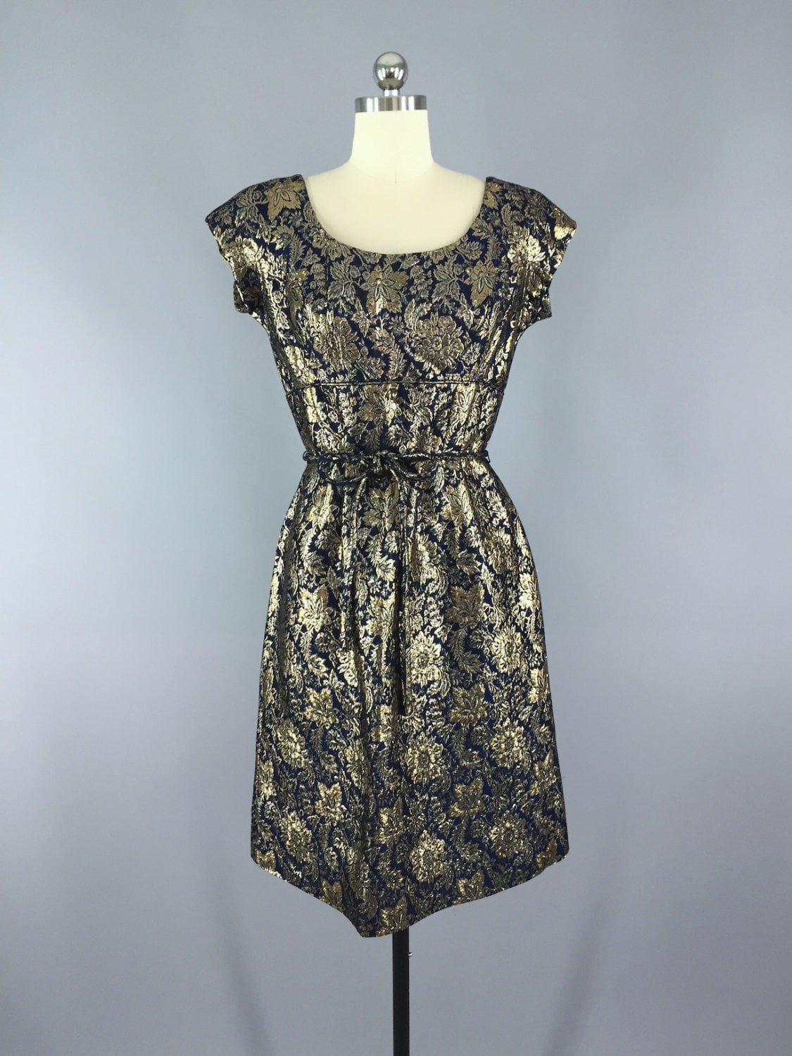 Vintage 1950s Party Dress / Blue & Gold Brocade - ThisBlueBird ...