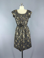 1950s Vintage Harmay Blue and Gold Brocade Party Dress Dress ThisBlueBird