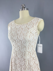 1950s Vintage Ivory Blush Lace Illusion Dress Dress ThisBlueBird
