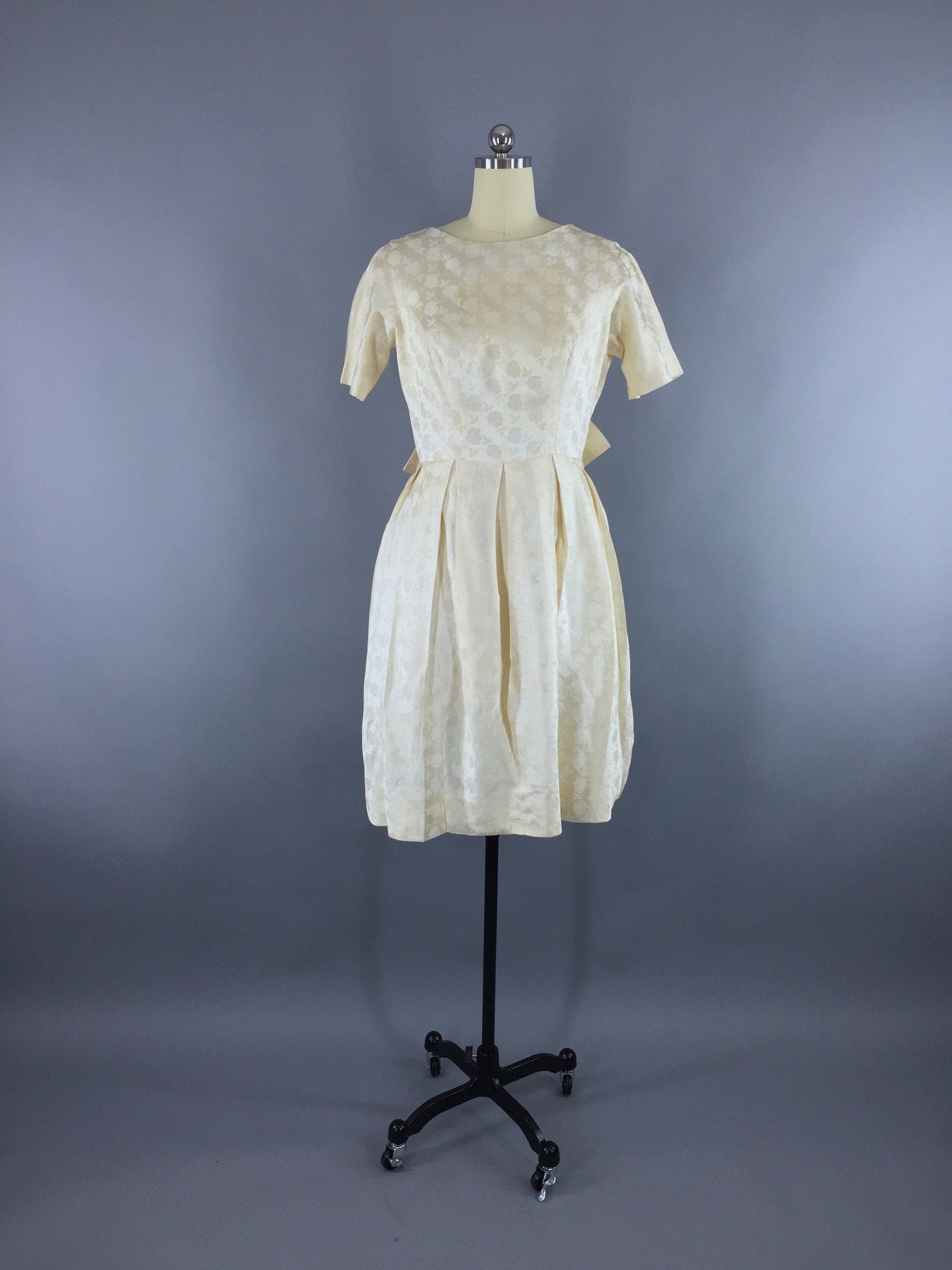 1950s Vintage Ivory Satin Damask Party Dress Dress ThisBlueBird - Sale