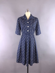 1950s Vintage Navy Blue Polka Dots Day Dress Dress ThisBlueBird