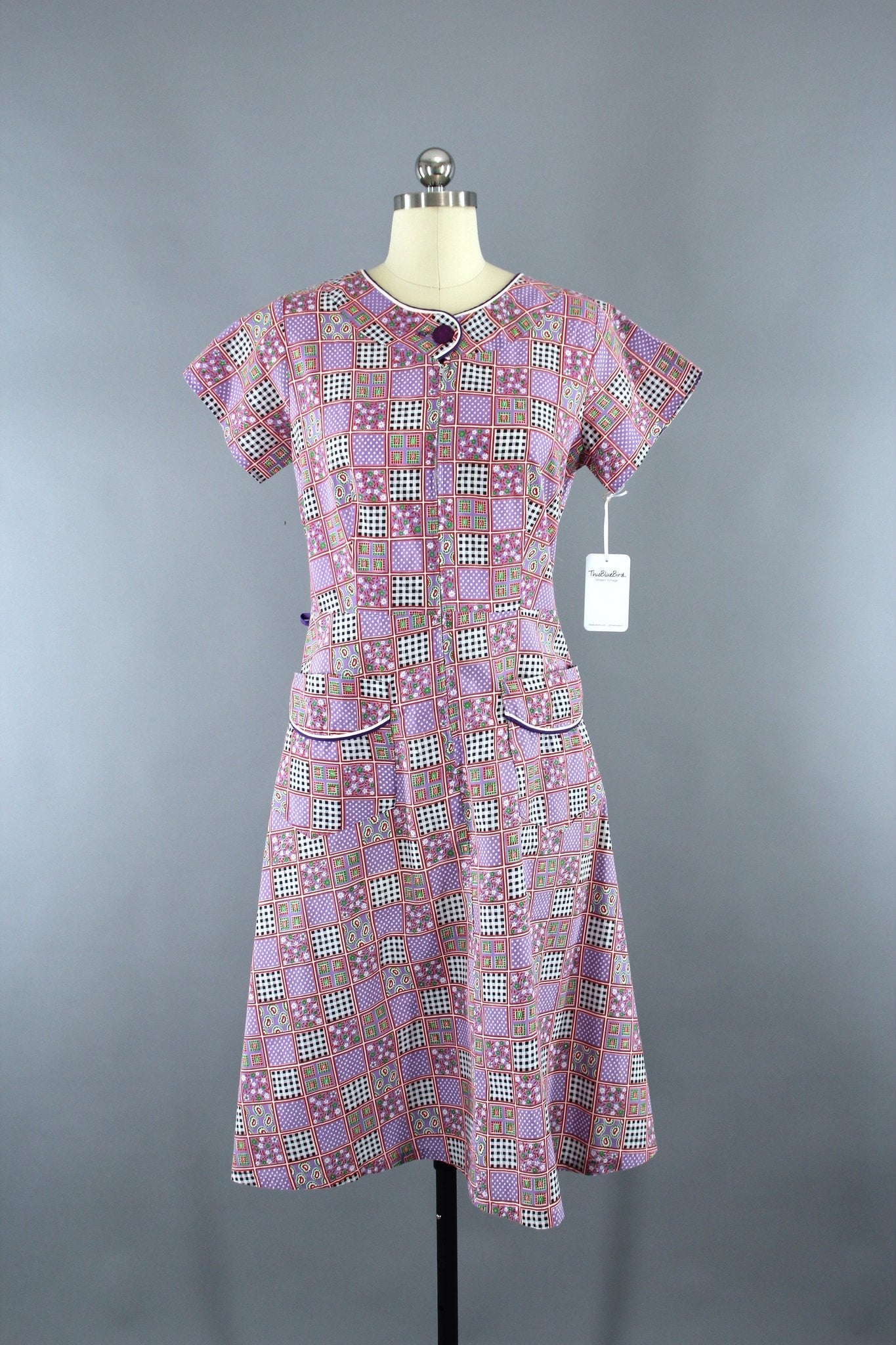 1950s Vintage Novelty Print Checkered Cotton Dress Dress ThisBlueBird