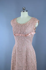 1950s Vintage Peach Lace Illusion EMMA DOMB Dress Dress ThisBlueBird
