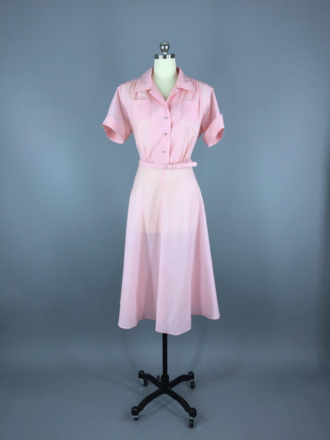 1950s Vintage Pink Day Dress Dress ThisBlueBird