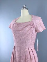 1950s Vintage Pink Lace Cocktail Dress Dress ThisBlueBird
