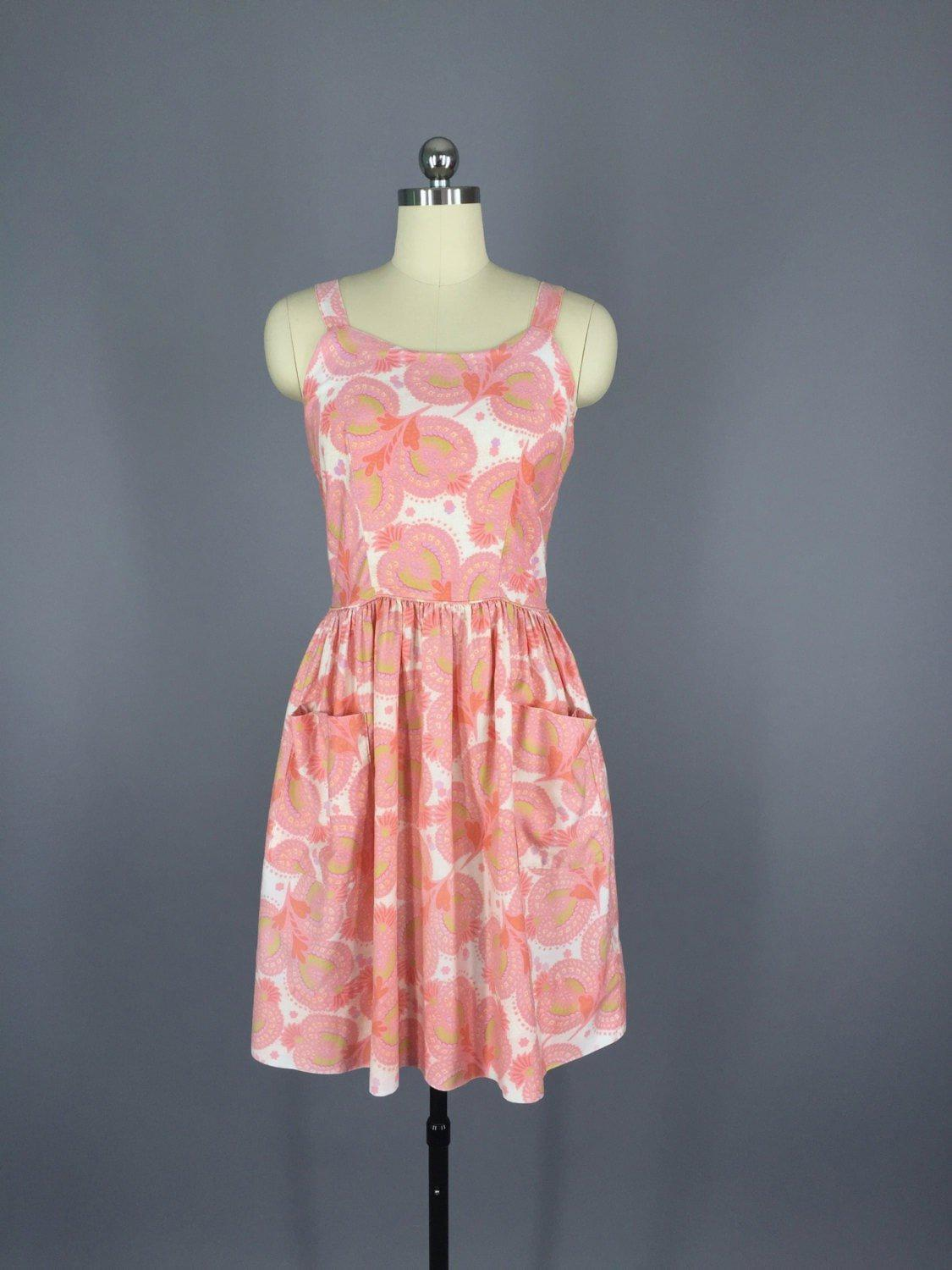 1950s Vintage Pink Sundress Dress ThisBlueBird