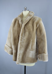 1950s Vintage Rare BLONDE Mouton Sheared Lamb Fur Coat Outerwear ThisBlueBird