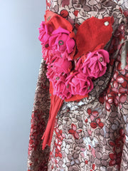1950s Vintage Red and Taupe Floral Print Day Dress Dress ThisBlueBird