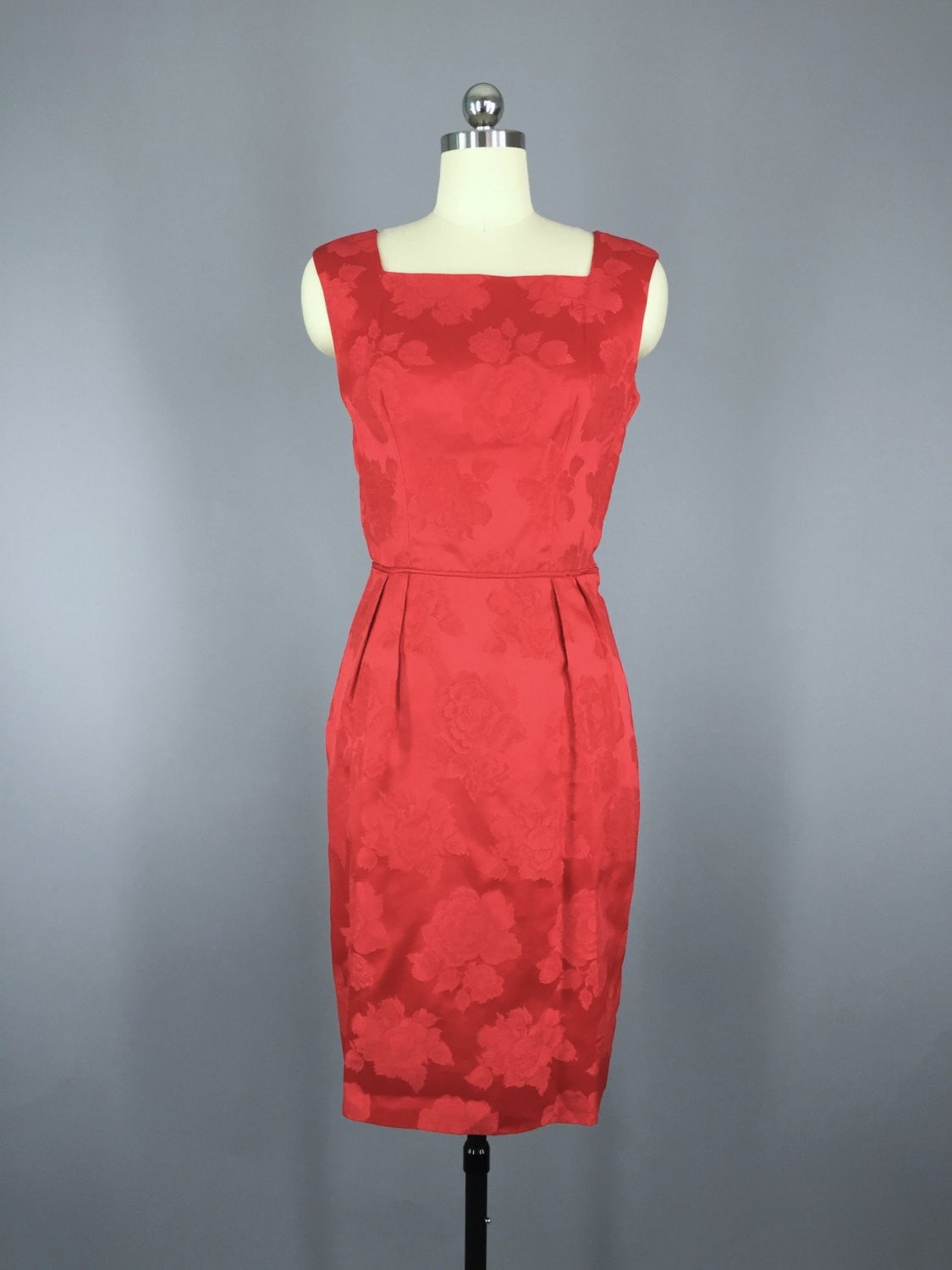 1950s Vintage Red Satin Damask Cocktail Dress Dress ThisBlueBird