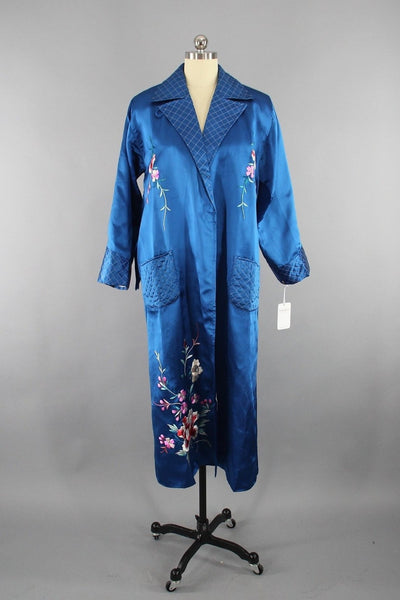 1950s Vintage Royal Blue Satin Embroidered Robe