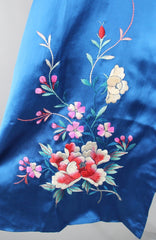 1950s Vintage Royal Blue Satin Embroidered Robe Lingerie ThisBlueBird