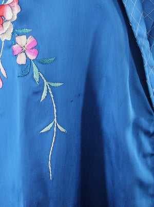 1950s Vintage Royal Blue Satin Embroidered Robe - ThisBlueBird