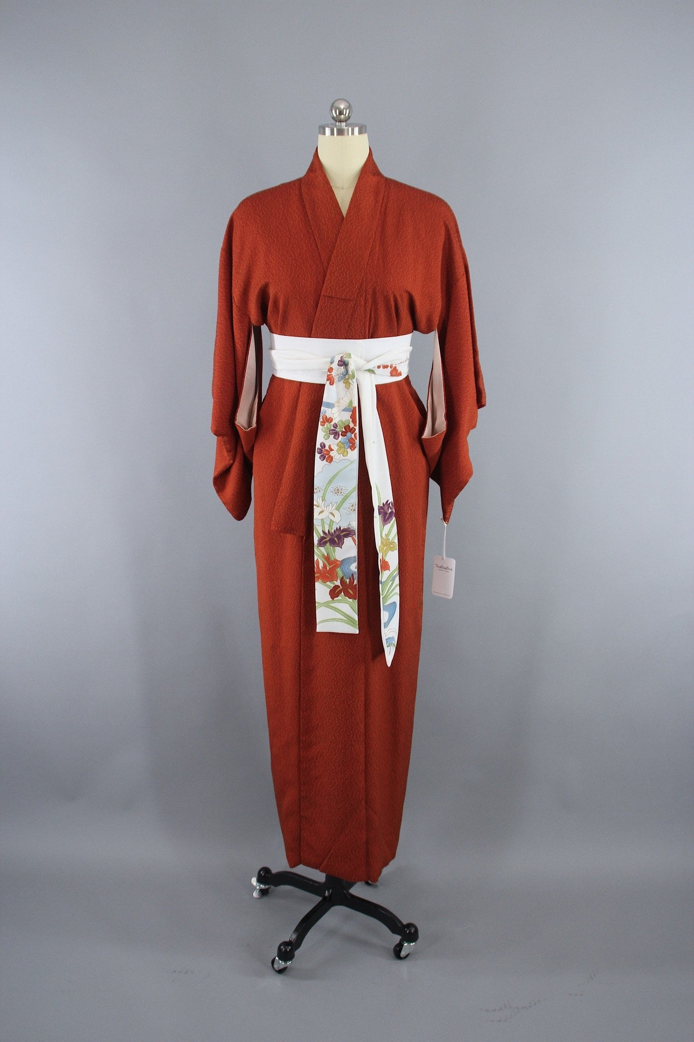 1950s Vintage Silk Kimono Robe in Dark Rust Orange and Black Tiny Dots Kimono ThisBlueBird