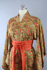 1950s Vintage Silk Kimono Robe in Orange and Brown Abstract Print Kimono ThisBlueBird