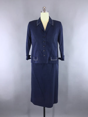 f499a5ade16a 1950s Vintage Women's Navy Blue Suit by Tween Craft