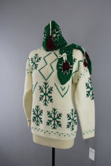 1950s Vintage Wool Fair Isle Snowflake Sweater, Hat and Mittens Set Tops ThisBlueBird