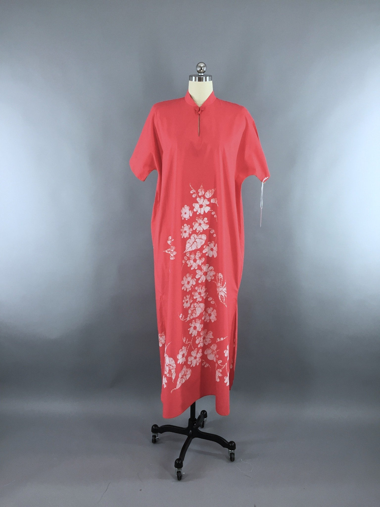 1960s Vintage Bette of Jamaica Pink Butterfly Batik Caftan Dress Dress ThisBlueBird