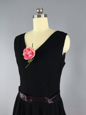 1960s Vintage Black Chiffon Cocktail Dress - ThisBlueBird