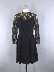 1960s Vintage Black Lace Illusion Cocktail Dress Dress ThisBlueBird