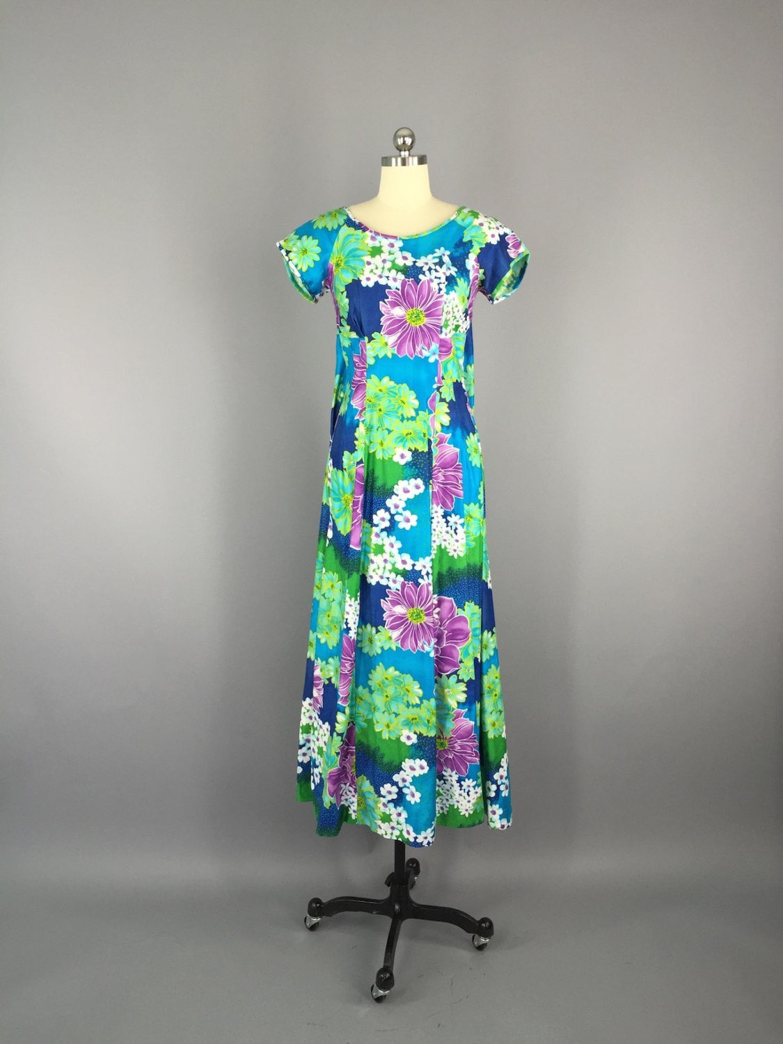 1960s Vintage Blue Hawaiian Maxi Dress Dress ThisBlueBird - Sale