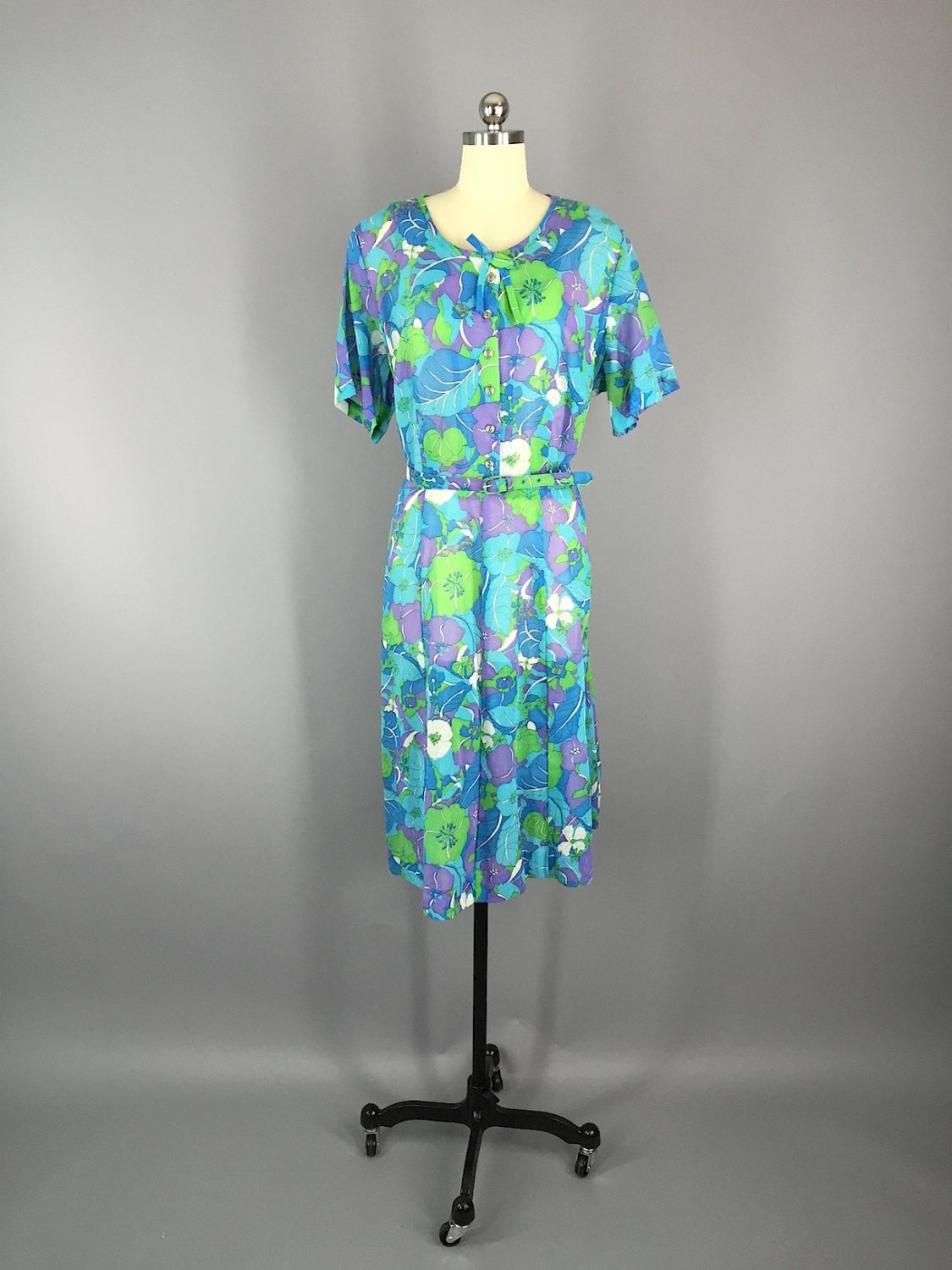 1960s Vintage Blue Mod Floral Print Dress and Jacket Set Dress ThisBlueBird - Sale