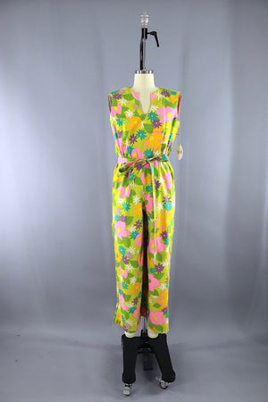1960s Vintage LANZ Jumpsuit Romper / Yellow Green Mod Floral / XXS Bottoms ThisBlueBird