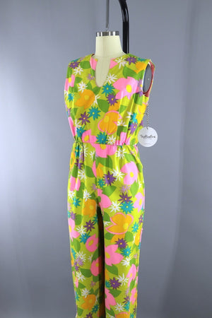1960s Vintage LANZ Jumpsuit Romper / Yellow Green Mod Floral / XXS - ThisBlueBird